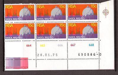 South Africa  1975 Sasol Sg 380  Mnh  Control Blocks Of 6