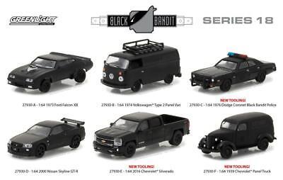 GREENLIGHT 27930 BLACK BANDIT SERIES 18, SET OF 6 DIECAST MODEL CARS 1:64