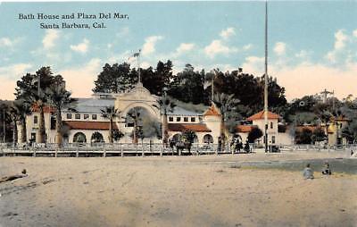 Bath House & Plaza Del Mar, Santa Barbara, California ca 1910s Vintage Postcard