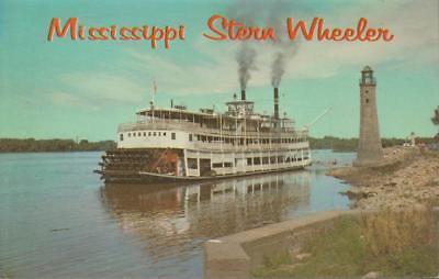 Clinton Iowa Mississippi River Excursion Boat Stern Wheeler Vintage PC Rare