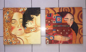 Beautiful Set of 2 Original Hand Painted Lacquered Artworks New Farm Brisbane North East Preview