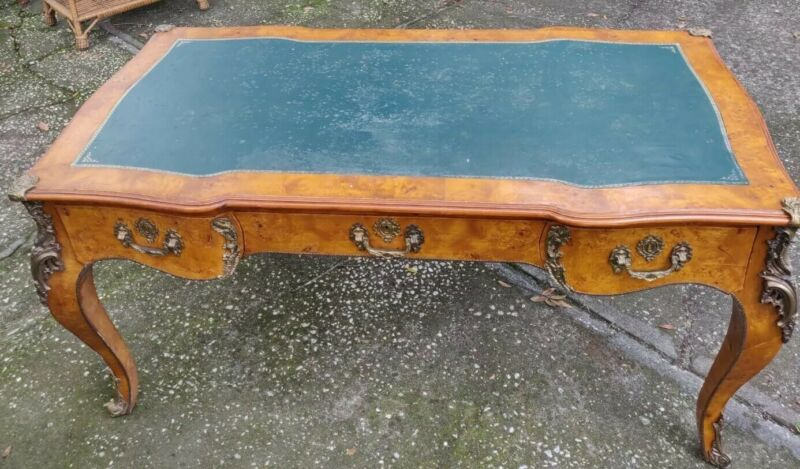 Antique Study Desk With Leather Top In Perfect Condition ,,,
