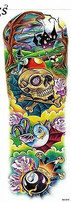 Temporary Tattoo Sleeves Roses Dragon Bat Halloween Spooky Ghost Cartoon Skull - Roses Tattoo Sleeves