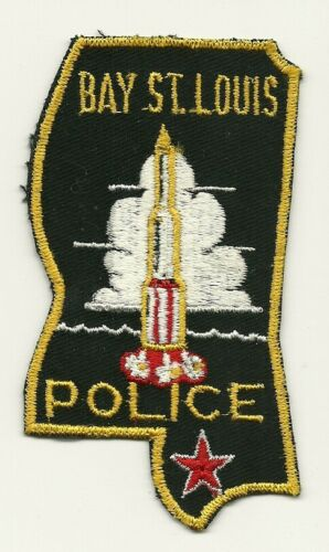 Vintage State Shaped Bay St Louis Police State Mississippi MS Rocket patch