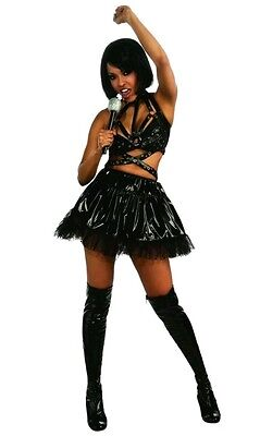 Women's large (10-14) sexy Rihanna black  rock star biker chick Outfit Costume