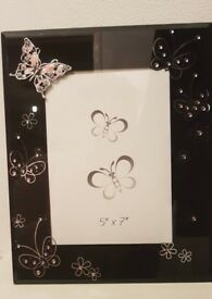 Black pink and silver photo frame butterflies