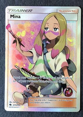 Pokemon Sun & Moon Lost Thunder Mina 211/214 Full Art Trainer MINT NEAR MINT