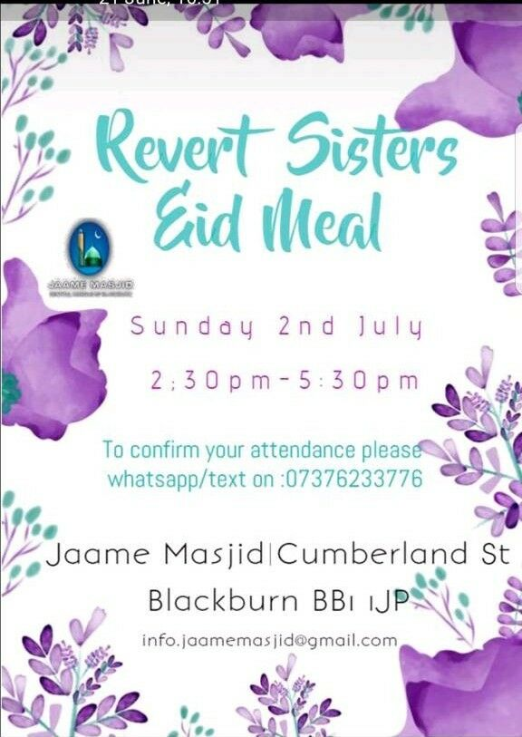 Revert sisters Eid mealin Blackburn, LancashireGumtree - Revert sisters Eid mealPlease try to attend and encourage other sisters you know x