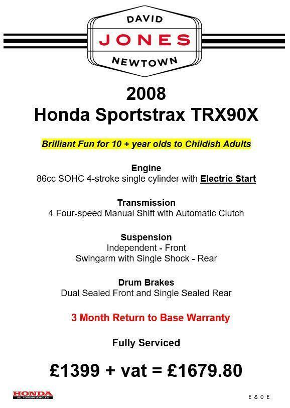 HONDA TRX90 X SPORTRAX 4x2 2WD QUAD BIKE ATV FOUR WHEELER KIDS QUAD