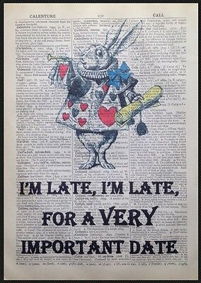 Weißes Kaninchen Alice im Wunderland Druck Vintage Wörterbuch Seite Bild Kunst