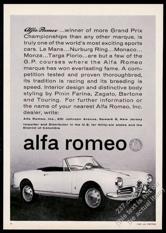1962 Alfa Romeo convertible car photo vintage print ad