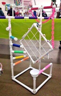 Tall Climber PVC Parrot Perch  Stand  Play Gym   SHIP FREE!** Birds Love Them!