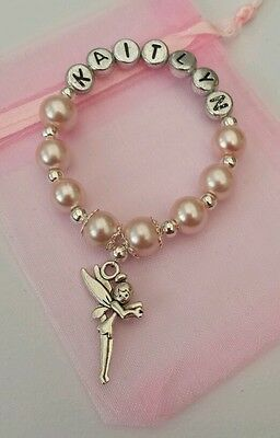 Girls Personalised Tooth Fairy/Tinkerbell Bracelet - Tinkerbell Tooth Fairy