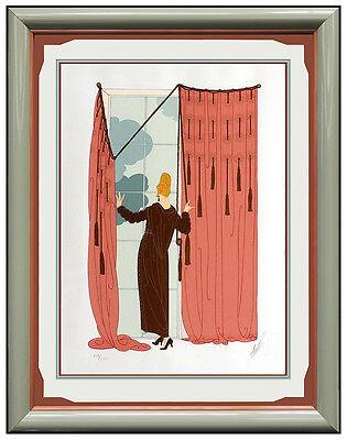 ERTE Color Serigraph Cloudy Morning Set Design Art Deco Signed Romain Tirtoff