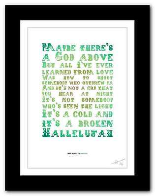 Jeff Buckley Hallelujah    Song Lyrics Typography Poster Art Print  39