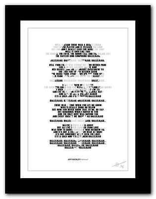 Jeff Buckley   Hallelujah    Song Lyrics Typography Poster Art Print  40