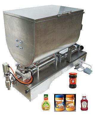 100-1000ml Paste Filling Mixing Machine Piston Filler Machine With Big Hopper