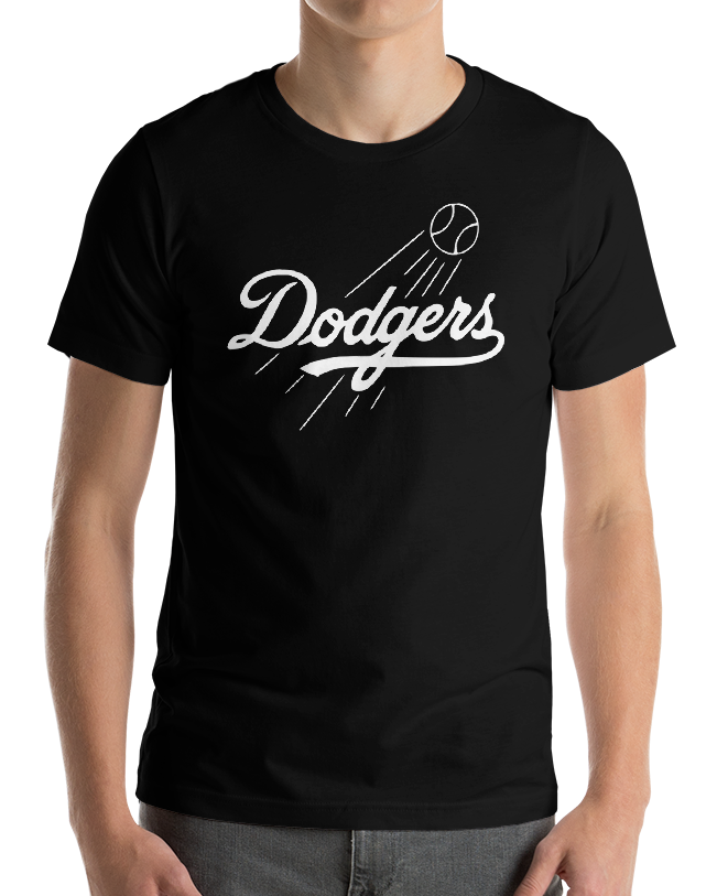 Los Angeles Dodgers black T-Shirt white Logo Cotton Adult S-
