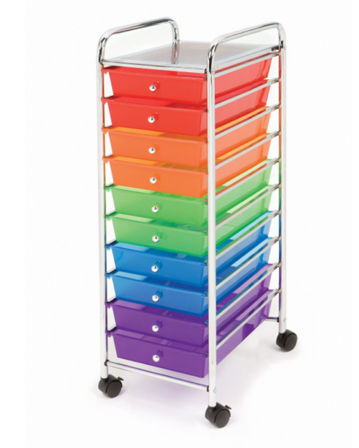 10 Multi Color Drawer Metal Rolling Cart Scrapbook Organizer ...
