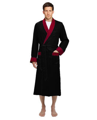 Mens Black Robe (Mens Long Silk Satin Robe - Fully lined Heavy weight  Black /)