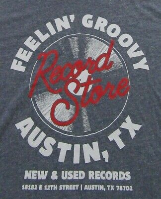 FEELING GROOVY RECORD STORE Austin Texas Retro Style Old Navy T Shirt Size (Austin Tx Stores)