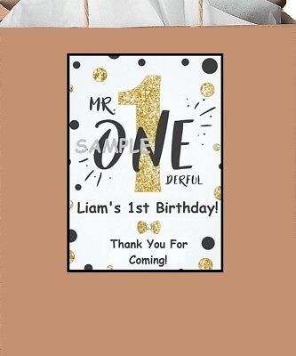 18 Personalzed Mr Onederful party stickers,1st birthday,stickers,labels,supplies (Saints Party Supplies)