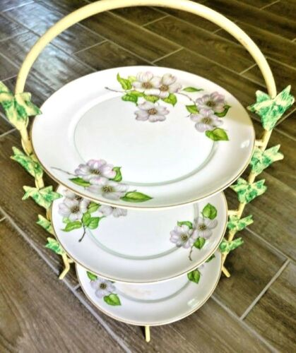 Dogwood 3 Tier Serving Platter Hand Crafted  with Ivy Leaves Stand -Pope Gosser