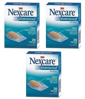 - 3 Pack - 3M Nexcare Waterproof Clear Bandages One Size 20 Each