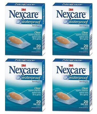 - 4 Pack - 3M Nexcare Waterproof Clear Bandages One Size 20 Each