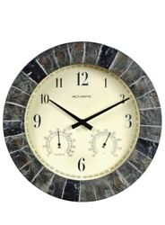 14 Inch Faux Slate Indoor Outdoor Wall Clock With Thermometer Hygrometer Durable