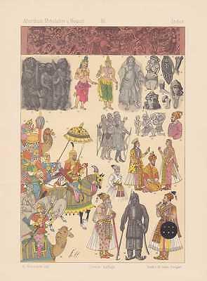 Tracht Von Indien (Indien Trachten Muselmann Hindu LITHOGRAPHIE von 1883 Priester Gaukler)