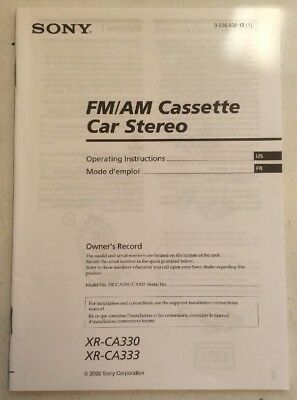 FM AM Cassette Car Stereo Sony Installation Manual Guide Only XR-CA330 XR-CA333 (Car Audio Installation Guide)