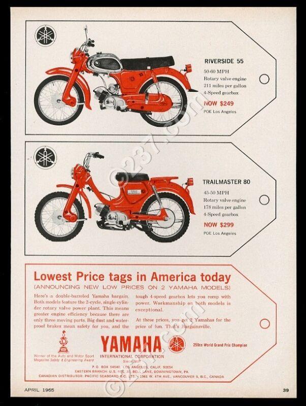 1965 Yamaha Riverside 55 Trailmaster 80 motorcycle vintage print ad