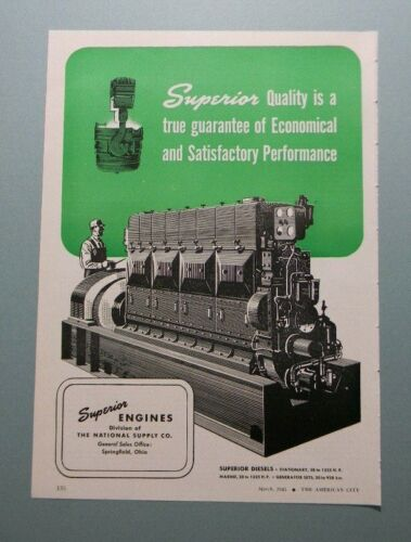 "1945 SUPERIOR DIESEL ENGINES ""QUALITY IS A TRUE GUARANTEE OF..."" SALES ART AD"