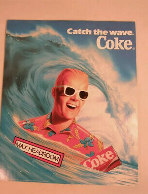 Lot Of 3 Vintage Max Headroom Coke Coca Cola Posters Catch The Wave NOS 1980s