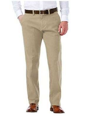 Haggar Men's Sustainable Flat Front Stretch Straight Fit Chino Pants Khaki 34X32