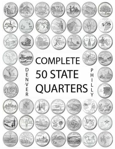 1999 - 2008 D Mint Complete 50 State Quarters Set U.S.Mint Roll Coins