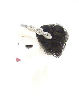 Schwarz Silber Federn Stirnband 1920er Jahre Flapper Kopfschmuck - Schwarzes Flapper Kostüm Kopfbedeckung