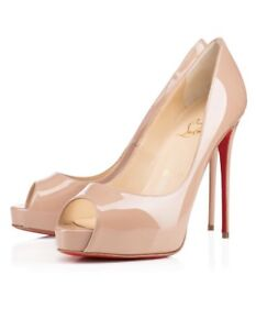 LOUBOUTIN PATENT NUDE HEELS - NEW