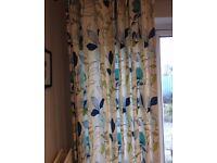 Designer lined patio curtains and two Roman blinds, fresh modern print