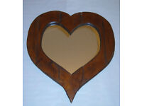HAND MADE WOODEN HEART SHAPED MIRROR WALL HANGING ORNAMENT 24 x 22 COLLECTABLE.*