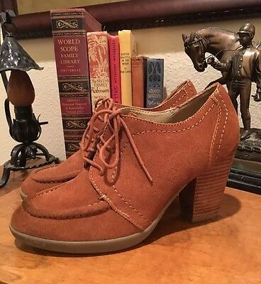 KENNETH COLE Camel Tan Suede Lace-Up Oxford Comfort Heels Worn Once 7M Nice!!! Kenneth Cole Oxford Heels