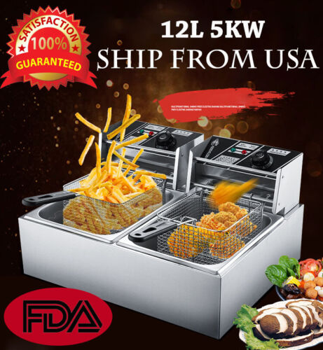 12L 5000W Electric Deep Fryer Commercial Tabletop Restaurant
