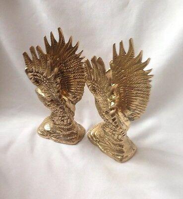 Pair Vintage Brass Eagles Figure Excellent Condition
