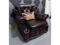 Refurbished Winchester Chesterfield Arm Chair in Oxblood Leather - UK Delivery