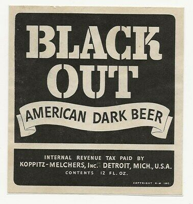Koppitz-Melchers Black Out Dark Beer label IRTP Detroit MI