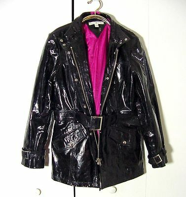 Tommy Hilfiger Womens Shiny Belt Buckle Lady Gaga Black Leather Jacket Sz XL