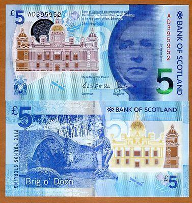 Scotland, Bank of Scotland, 5 pounds,  2016, P-New, POLYMER, UNC   Walter Scott