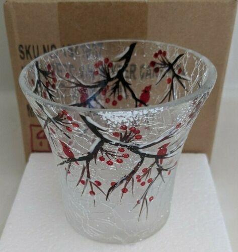 Yankee Candle Winter Cardinal Votive Holder  Crackle Glass~~NIB