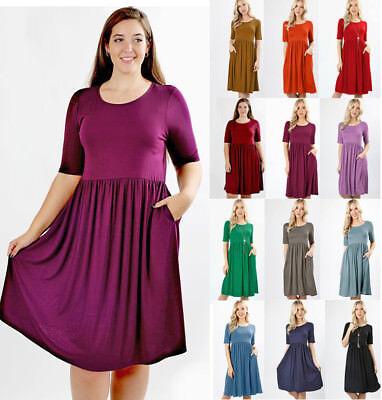 Plus Soft Knit Short Sleeve Basic Solid Midi Knee Dress Pockets Gathered (Gathered Knit Dress)
